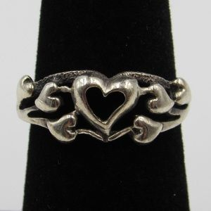 Vintage Size 7 Sterling Rustic Hearts Love Ring